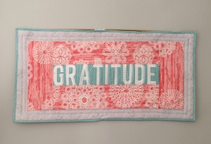 """Quilted """"gratitude"""" wall hanging"""