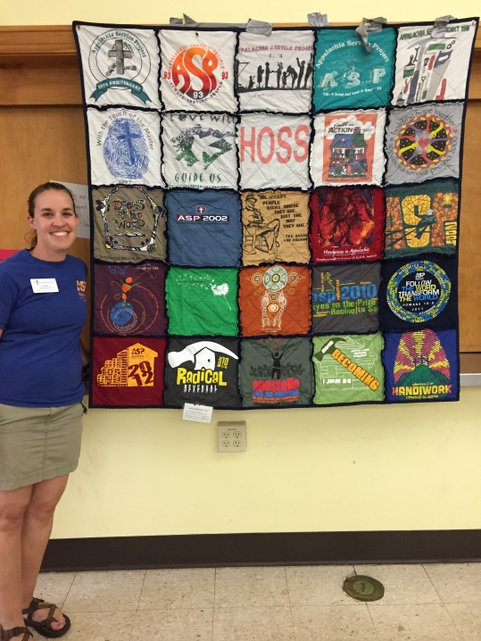 woman with tshirt quilt