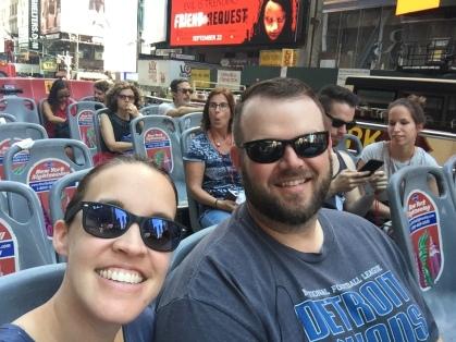 couple on a tour bus
