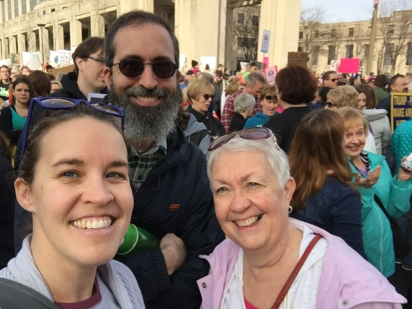 family at women's march rally