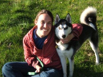 woman with husky