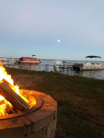 bonfire and lake
