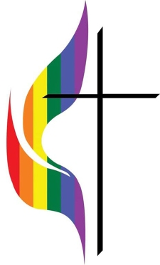 United Methodist Church cross and flame with rainbow