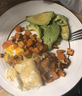 sweet potatoes, eggs and avocado