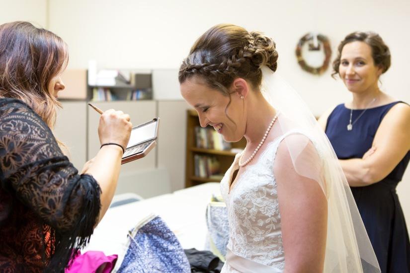 women preparing for wedding